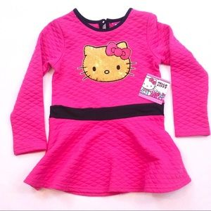 Pink Hello Kitty gold sequin long sleeve shirt 4T